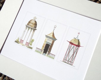 Chinoiserie Garden Gazebo Illustrations with Coral, Wheat and Green Accents Archival 8 x10 Print