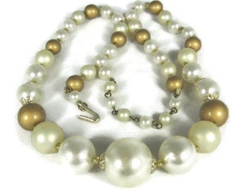 White Gold Graduated Glass Pearl  Necklace 1950s