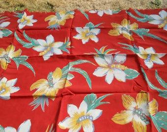 1950s 60s Vintage Floral Rayon 1 YD +