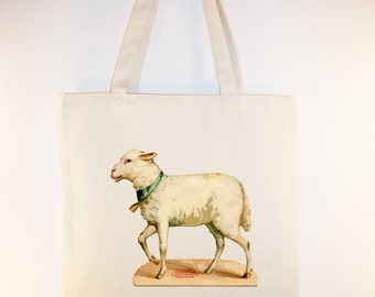 Vintage Lamb illustration on Canvas Tote -- Selection of  sizes available