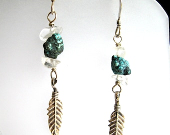 Dangle Earrings of Turquoise Nuggets, Sterling Silver Feather Charms, Clear Quartz Crystal Chips, Gift for Her, Christmas Gift, Birthday