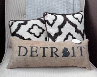 "Detroit Michigan Black Burlap Stuffed Pillow 21.5"" x 8""  - cushion - mitten state - city - rustic - coffee bean sack - motor city"