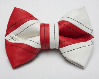 Red and White Leather Bow Tie