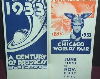 1933 Chicago Century Of Progress world's fair brochure