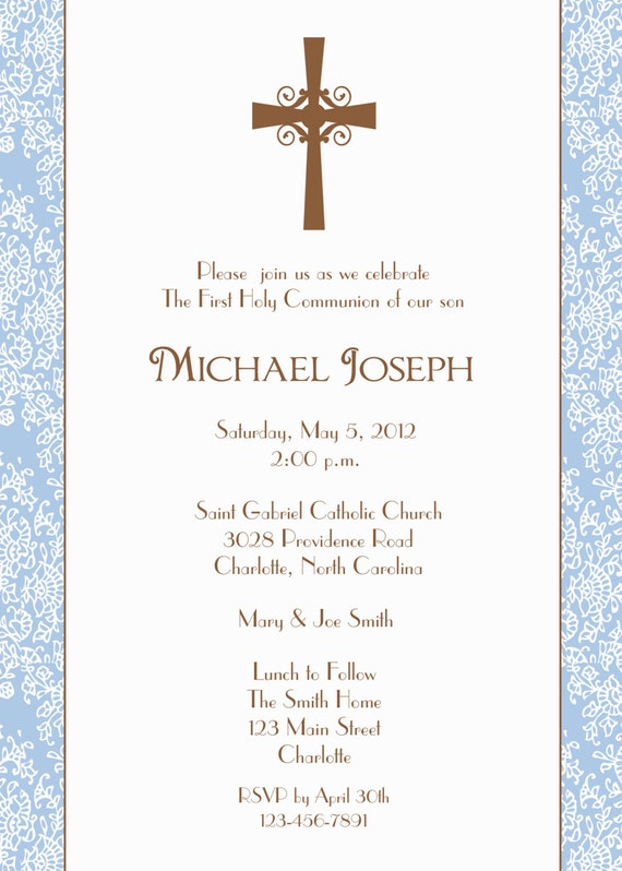 First Holy Communion Invitation Baptism Confirmation Baby