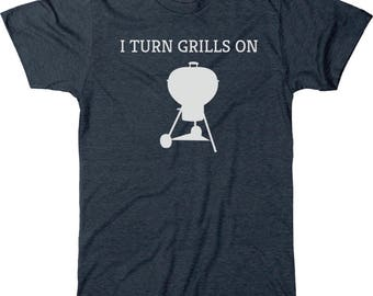 I Turn Grills On Father's Day Men's Tri-blend T-Shirt