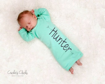 Baby boy Personalized aqua gown, newborn boy aqua and grey arrow, baby boy take home outfit, newborn boy hospital outfit, hat sold separate