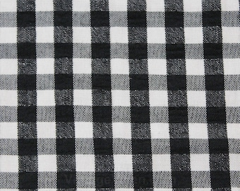 1960s Gingham Fabric - 2 Yards x 46.5 Inches - Cotton Blend Black & White 50s 60s Summer Yardage - Two Yard Length 60's Fabric - 50165