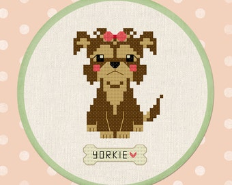 Cute Yorkshire Terrier Cross Stitch Pattern. Yorkie Dog Modern Simple Cute Counted Cross Stitch Pattern PDF File. Instant Download