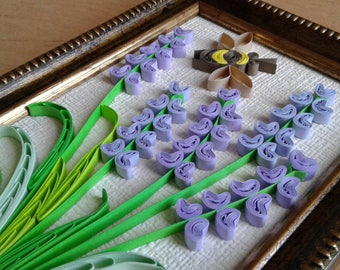 Quilling art Paper quilled picture Creative decor flower wall art Quilling decor lavender flowers and bee Picture flower Wall Decor Framed