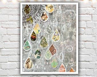 rain drop painting print - mixed media collage art - gray wall art - raindrop art