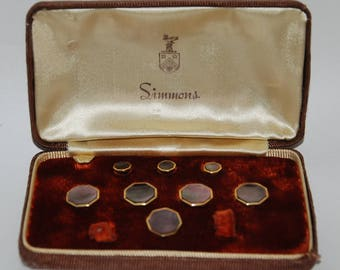 1940s-'50s era Simmons Formal Tuxedo Dress Shirt Studs and Vest Buttons Partial Set -- Free USA Shipping!