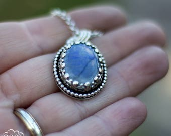 Rainbow Moonstone bohemian pendant in sterling silver - Argante Collection