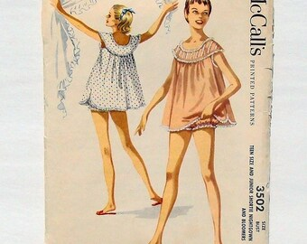 Vintage 1959 McCall's Junior Shortie Nightgown & Bloomers Sewing Pattern #3502 - Sz 11 (Bust 29) - Baby Doll Nightie