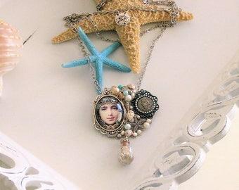 Mermaid Necklace, Mermaid Brooch, Mermaid Jewelry, Mermaids, Mermaid Statement Necklace, Assemblage Jewelry, Assemblage Necklace, N896