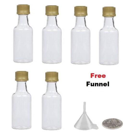 6 miniature liquor bottles GOLD, BLACK, WHITE, Silver caps