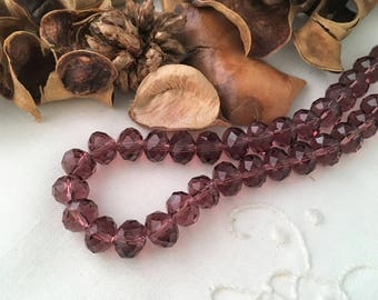 purple violet crystal clear faceted 6 x 8 mm 10 beads
