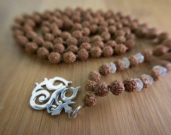 Balinese Om Mala -  prayer bead necklace,  rudraksha beads,  925 sterling silver, moonstone