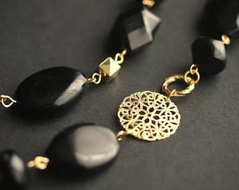 Eyeglass Chain or Badge Lanyard. Black Lanyard. Gold Eyeglass Holder Gold Lanyard. Black Eyeglass Necklace. Badge Holder. Beaded Lanyard.