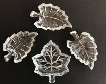 Vintage 1980s Crystal Leaf Shaped Dishes. Set of 4 Small Bowls for Nuts, Candy, Coins, Trinkets. Beautiful Eclectic Collection.