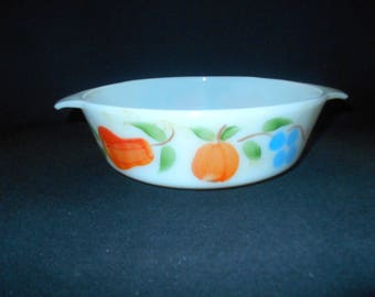 Vintage Fire King 1 1/2 QT Baking Dish - Fruit Motif with Pears, Peaches and Grapes