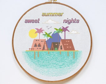Sweet Summer Nights Cross Stitch Pattern, Adventure Cross Stitch Pattern, Ocean Sunset Cross Stitch Pattern, PDF Format, Instant Download