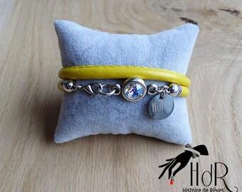 Swarovski silver bracelet, fine jewelry, summer collection, leather jewelry, silver, yellow, blue, gray, Black Snake, round pendant, handmade