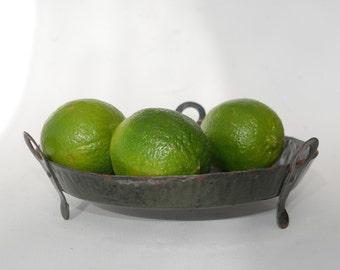 Kitchen Utensil, French enamel colander, Farmhouse fruit bowl, Mid century green enamelware