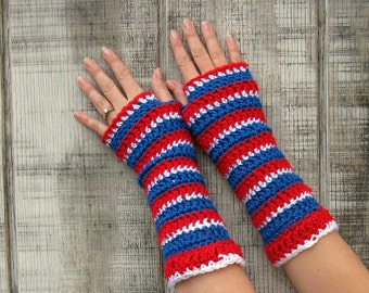 Go TEAM! extra soft striped gloves in Holly Red, Royal Blue, and White