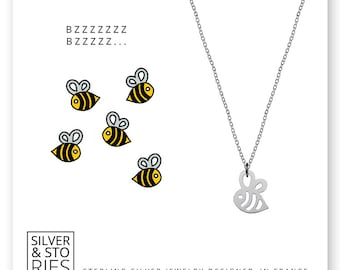 Bee 925 Sterling Silver thin minimalist charm necklace with box