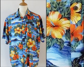 Mans holiday hawaiian patterned shirt short sleeve party shirt large