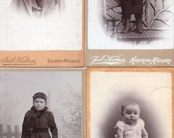 Lot of small vintage photograph Cabinet Cards children