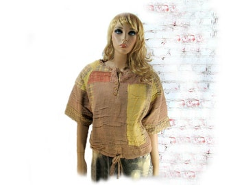Bohemian Top,altered top,casual top, unique clothing, earthy clothing, Med / Large  # S T 6
