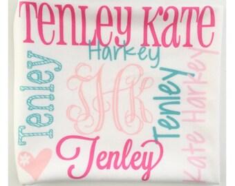 Personalized Baby Blanket - Monogram Baby Blanket - Swaddle Receiving Blanket - Baby Shower Gift - Custom Blanket - Monogrammed - Name