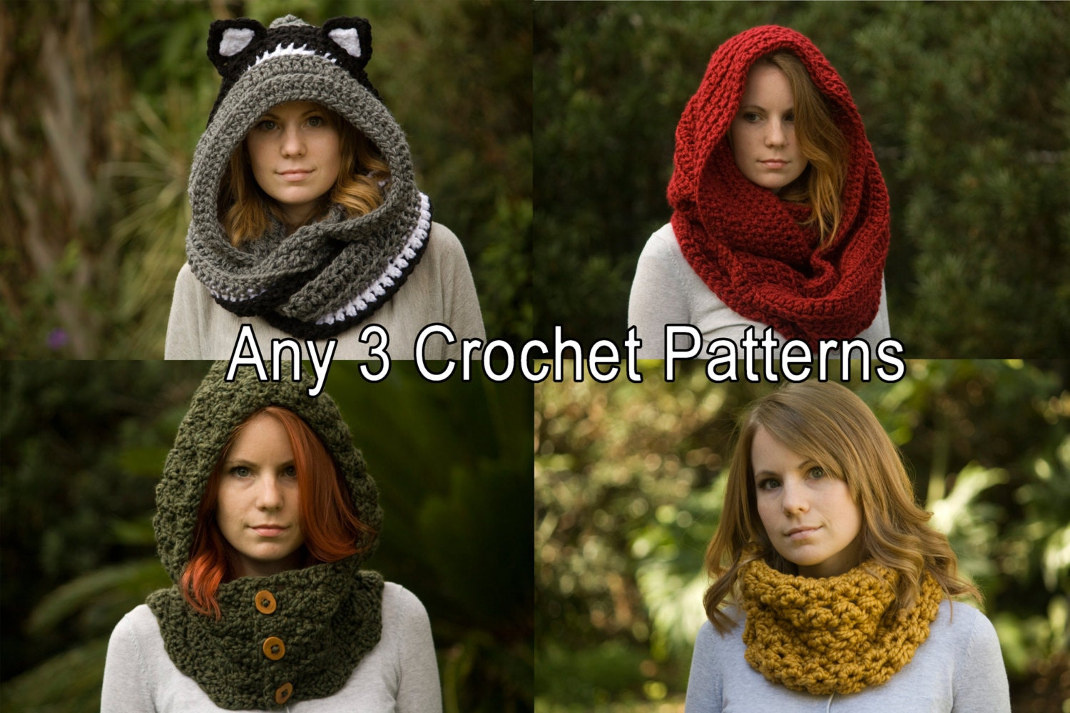 Any 3 Crochet Patterns Scarf Patterns Discount Package