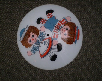 Vintage raggedy Ann And Andy  Frosted Glass Ceiling Light Fixture Shade