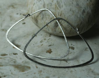 Handmade hammered stainless steel large triangle hoop, one pair (item ID SS121G18)
