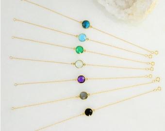 Delicate Gemstone Bracelet - Birthstone Bracelet - Gem Charm Bracelets - Dainty Gold Bracelets - Mother's Bracelet - Bezel set bracelet