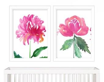 Pink Floral Watercolor Prints - Watercolor Wall Art - Watercolor Prints - Watercolor Wall Art - Floral Watercolor Painting - Watercolor Art