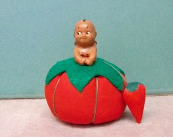 Brown Kewpie Pincushion ~ Artesian Made Tomato Pin Keeper ~ One Of A Kind Hand Painted Rose O'Neill Kewpie