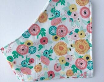 Bandana Bib - Baby Girl Bib Bandana Bib - Bibdana - Drool bib - Gift for Baby - Floral Bandana Bib