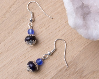 Blue goldstone Earrings - Gemstones with blue beads and Tibetan silver dangle earrings | Blue goldstone jewellery | Blue goldstone jewelry