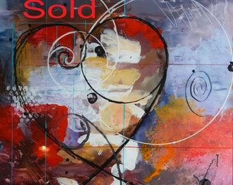 SOLD _ Fibonacci, modern abstract acrylic painting on plexiglass