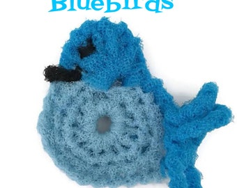 Bluebird Dish Scrubbie, 2 Through 6 Bird Crochet Kitchen Scrubbie, Dish Scrubber, Pot Scrubber, Handmade Crochet Scrubbie, Gift for Her