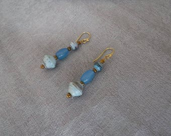 African Blue Paper Bead and Treated Jade Earrings