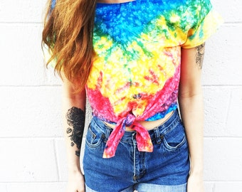 Tie Dye Tshirt  Crop Top Women's Clothing Tiedye Tee Hipster Tumblr Fashion Summer Crop Top « cd100woodstock «« (ots, td tee) «