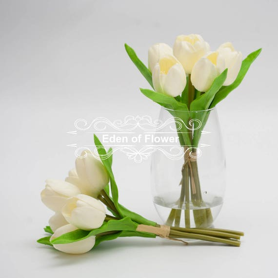 6 Pcs White Tulips Real Touch Flowers For Bridal Bouquet