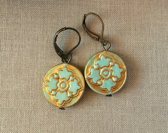 Round Mandala Aqua and Gold Earrings