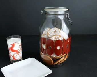 Vintage Typographic Cookie Jar Large Mod Font 3L Clear Glass Container Clamp Top