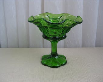 Vintage Mid Century Bulls Eye and Daisy Green Glass Compote Kanawha